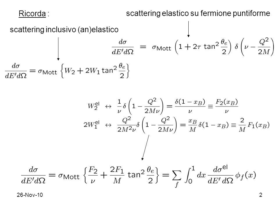 26-Nov-102 Ricorda : scattering inclusivo (an)elastico scattering elastico su fermione puntiforme