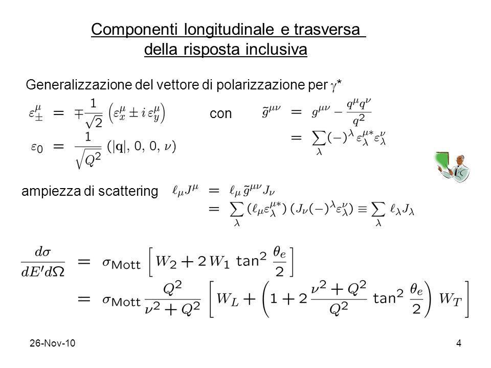 26-Nov-104 Componenti longitudinale e trasversa della risposta inclusiva Generalizzazione del vettore di polarizzazione per * con ampiezza di scatteri
