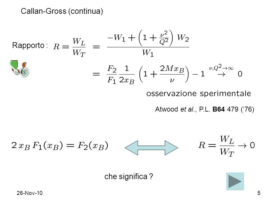 26-Nov-1016 Interpretazione il N e` costituito da 3 quark di valenza che portano ciascuno 1/3 del momento; differenza tra p e n sta nel quark dominante (rispettiv.