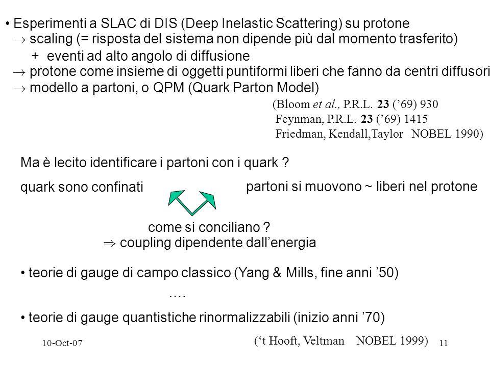 10-Oct-0711 Esperimenti a SLAC di DIS (Deep Inelastic Scattering) su protone .