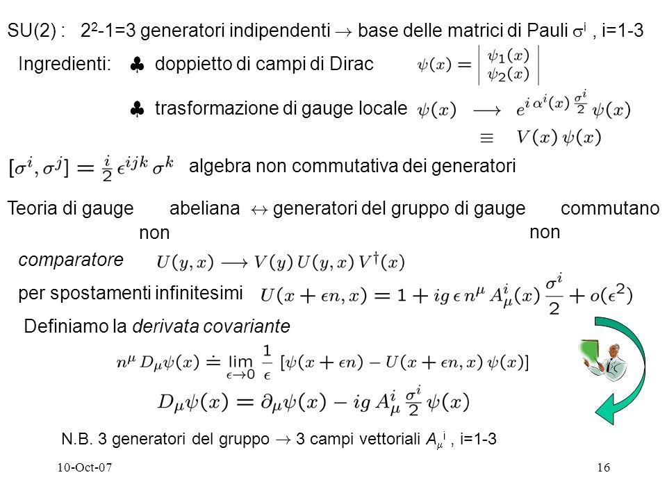 10-Oct-0716 SU(2) : 2 2 -1=3 generatori indipendenti .