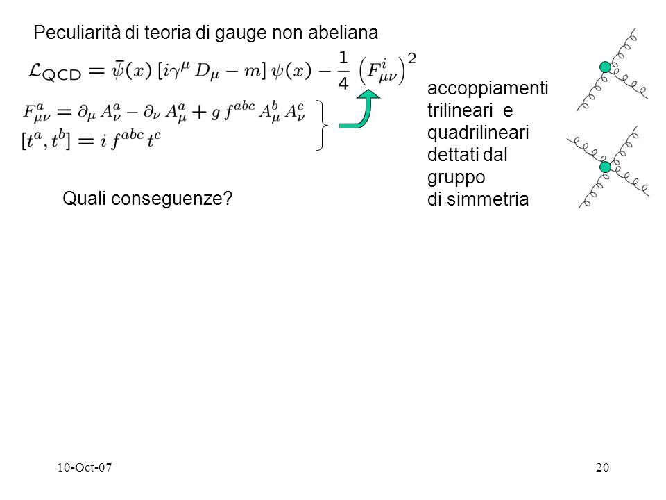 10-Oct-0720 Peculiarità di teoria di gauge non abeliana accoppiamenti trilineari e quadrilineari dettati dal gruppo di simmetria Quali conseguenze