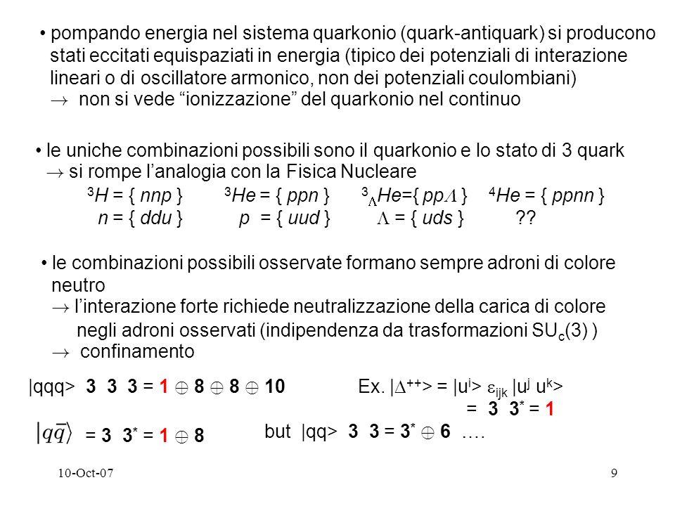 10-Oct-079 pompando energia nel sistema quarkonio (quark-antiquark) si producono stati eccitati equispaziati in energia (tipico dei potenziali di interazione lineari o di oscillatore armonico, non dei potenziali coulombiani) .