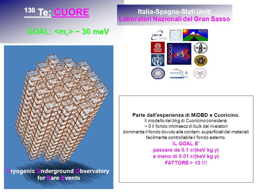Cryogenic Underground Observatory for Rare Events 130 Te: CUORE GOAL: ~ 30 meV Italia-Spagna-Stati Uniti Laboratori Nazionali del Gran Sasso Parte dall esperienza di MiDBD e Cuoricino.