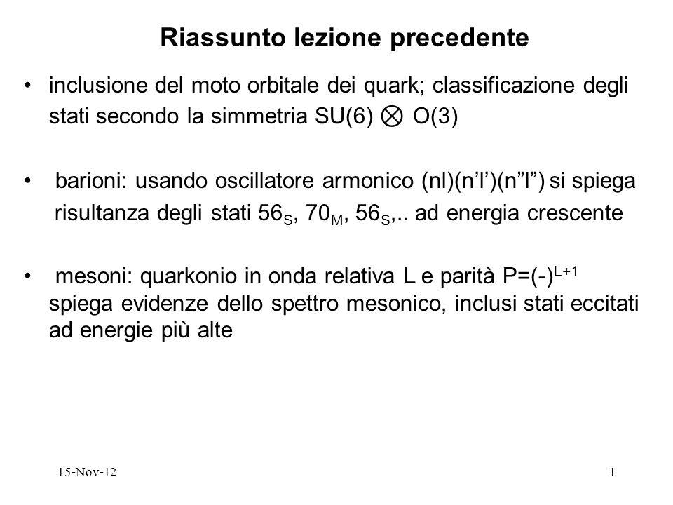 15-Nov-121 Riassunto lezione precedente inclusione del moto orbitale dei quark; classificazione degli stati secondo la simmetria SU(6) O(3) barioni: u