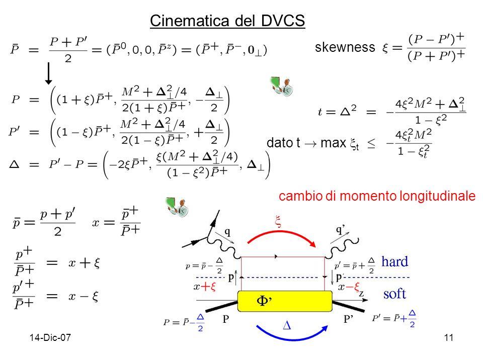 14-Dic-0711 Cinematica del DVCS skewness dato t ! max t cambio di momento longitudinale