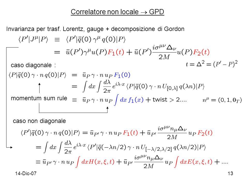 14-Dic-0713 Correlatore non locale GPD Invarianza per trasf.