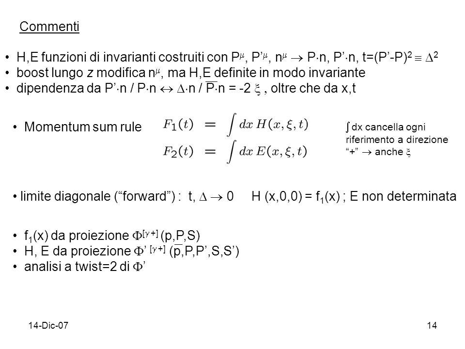 14-Dic-0714 Commenti H,E funzioni di invarianti costruiti con P, P, n P n, P n, t=(P-P) 2 2 boost lungo z modifica n, ma H,E definite in modo invariante dipendenza da P n / P n n / P n = -2 oltre che da x,t Momentum sum rule dx cancella ogni riferimento a direzione + anche limite diagonale (forward) : t, 0 H (x,0,0) = f 1 (x) ; E non determinata f 1 (x) da proiezione [ +] (p,P,S) H, E da proiezione [ +] (p,P,P,S,S) analisi a twist=2 di