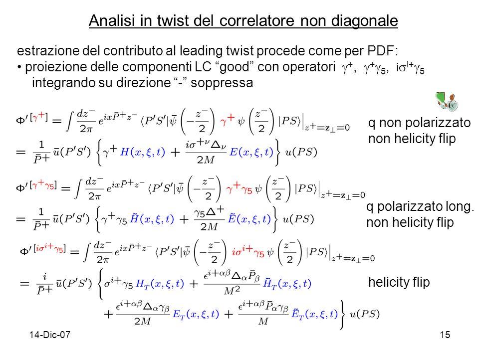 14-Dic-0715 Analisi in twist del correlatore non diagonale estrazione del contributo al leading twist procede come per PDF: proiezione delle componenti LC good con operatori +, + 5, i i+ 5 integrando su direzione - soppressa q non polarizzato non helicity flip q polarizzato long.