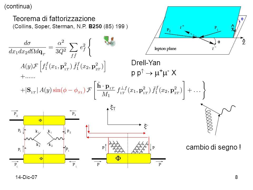 14-Dic-078 Drell-Yan p p + - X cambio di segno .