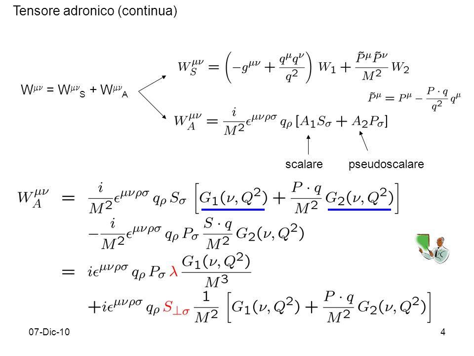 07-Dic-104 Tensore adronico (continua) W = W S + W A scalarepseudoscalare
