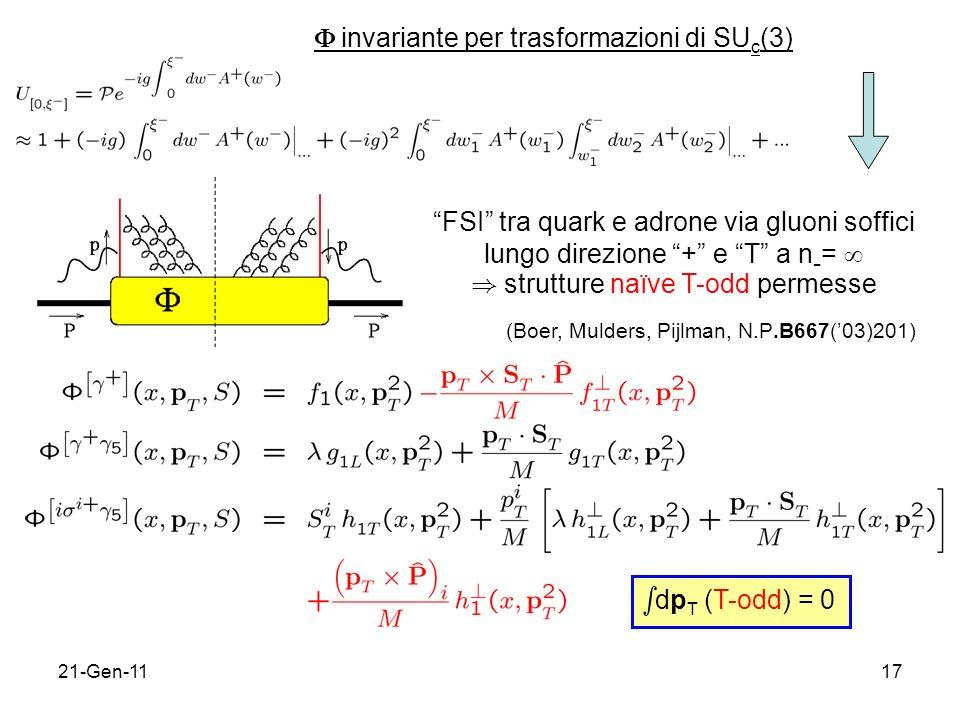21-Gen-1117 invariante per trasformazioni di SU c (3) FSI tra quark e adrone via gluoni soffici lungo direzione + e T a n - = ) strutture naïve T-odd permesse (Boer, Mulders, Pijlman, N.P.B667(03)201) s dp T (T-odd) = 0