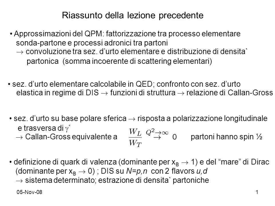 05-Nov-081 Riassunto della lezione precedente Approssimazioni del QPM: fattorizzazione tra processo elementare sonda-partone e processi adronici tra p
