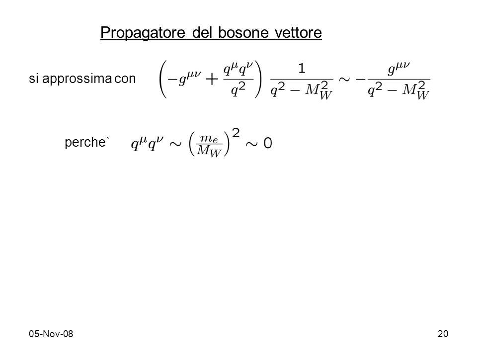 05-Nov-0820 si approssima con perche` Propagatore del bosone vettore