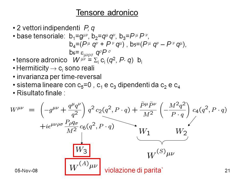 05-Nov-0821 Tensore adronico 2 vettori indipendenti P, q base tensoriale: b 1 =g, b 2 =q q, b 3 =P P, b 4 =(P q + P q ), b =(P q – P q ), b = q P tensore adronico W = i c i (q 2, P ¢ q) b i Hermiticity .