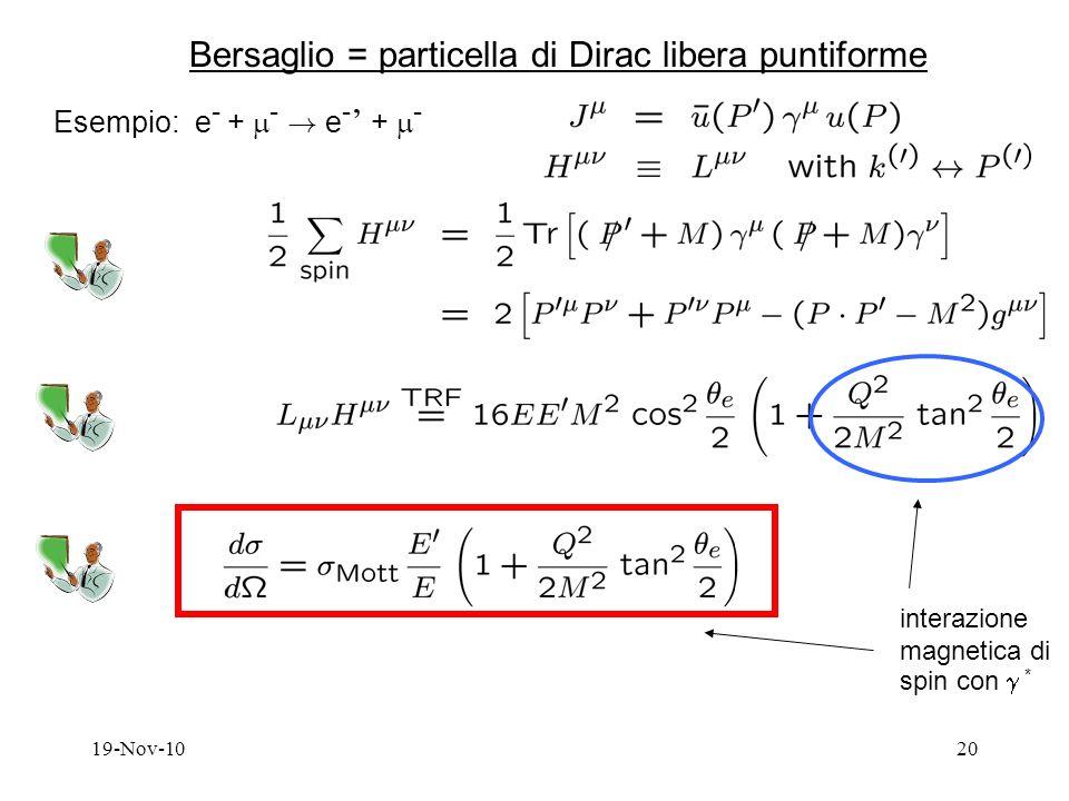 19-Nov-1020 Bersaglio = particella di Dirac libera puntiforme Esempio: e - + - .