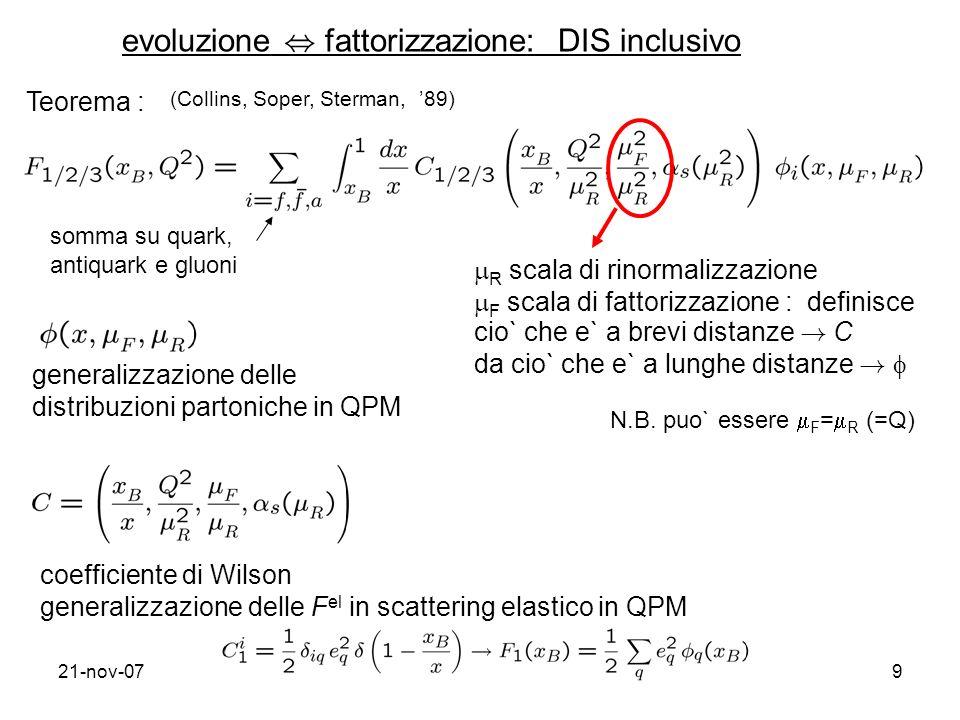21-nov-079 evoluzione, fattorizzazione: DIS inclusivo Teorema : (Collins, Soper, Sterman, 89) somma su quark, antiquark e gluoni R scala di rinormalizzazione F scala di fattorizzazione : definisce cio` che e` a brevi distanze .