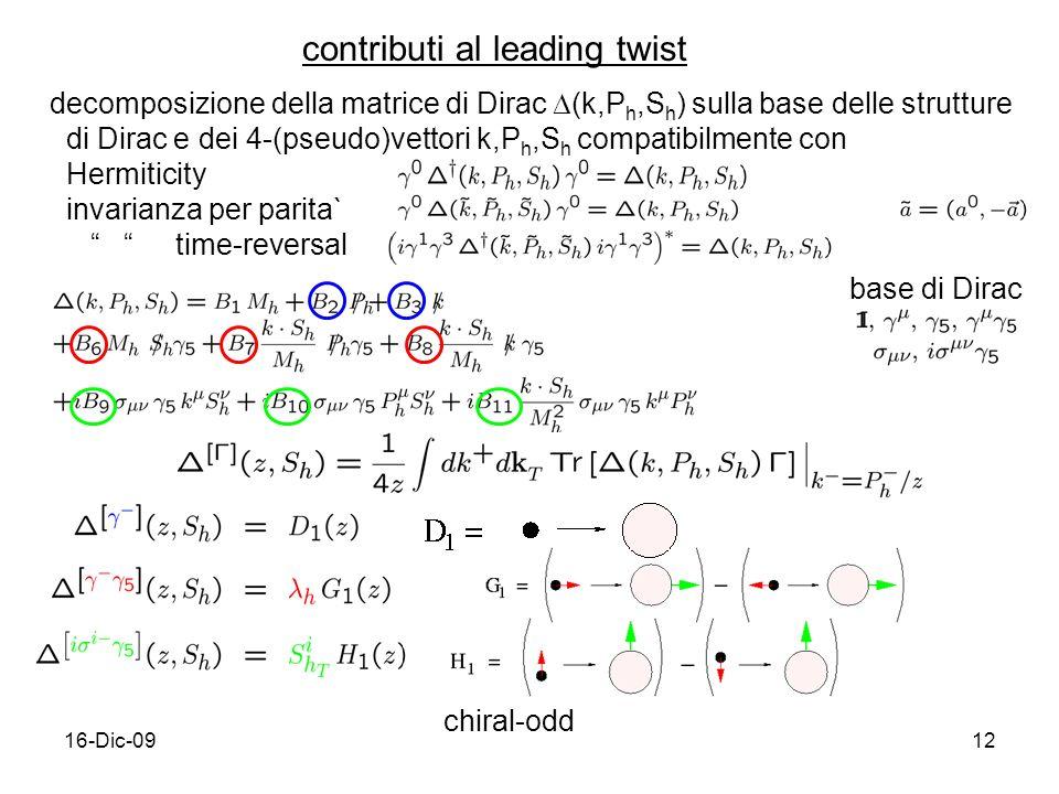 16-Dic-0912 contributi al leading twist decomposizione della matrice di Dirac (k,P h,S h ) sulla base delle strutture di Dirac e dei 4-(pseudo)vettori