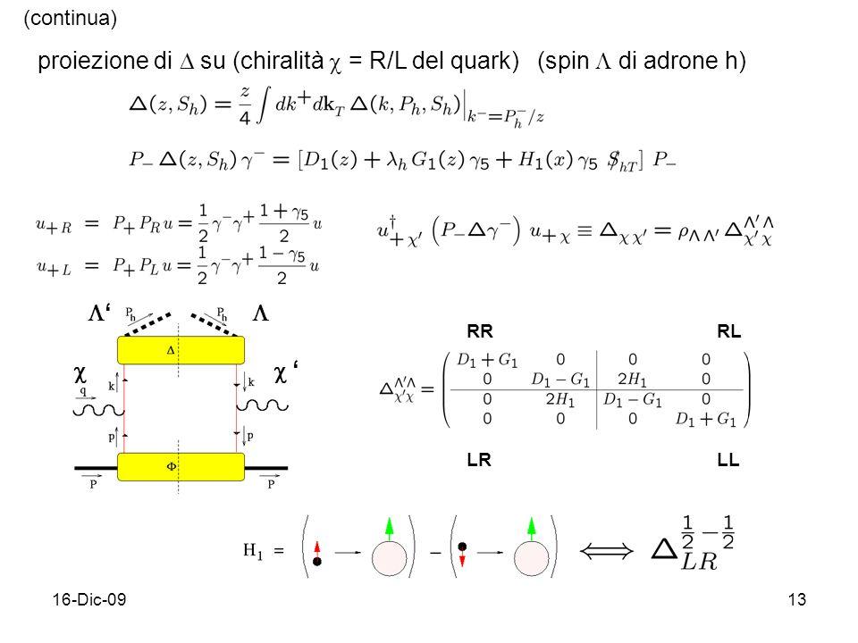 16-Dic-0913 (continua) proiezione di su (chiralità = R/L del quark)  (spin di adrone h) RRRL LRLL
