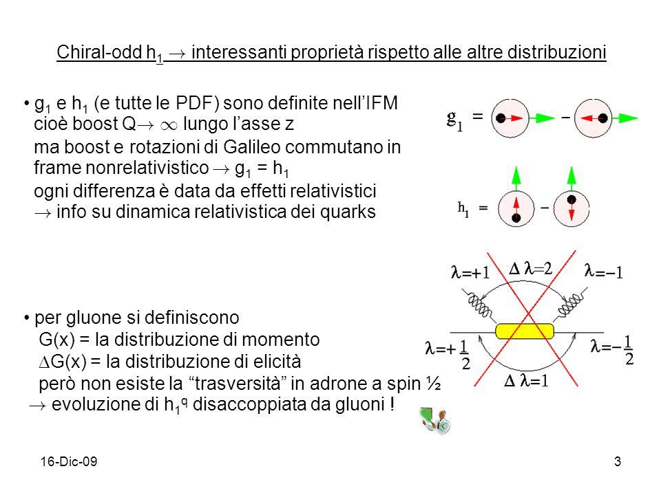 16-Dic-093 Chiral-odd h 1 ! interessanti proprietà rispetto alle altre distribuzioni g 1 e h 1 (e tutte le PDF) sono definite nellIFM cioè boost Q ! 1