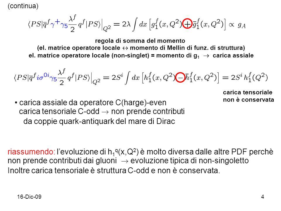 16-Dic-094 regola di somma del momento (el. matrice operatore locale $ momento di Mellin di funz. di struttura) el. matrice operatore locale (non-sing