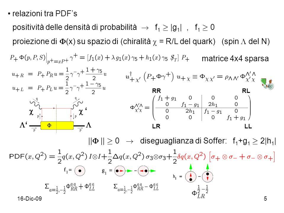 16-Dic-095 relazioni tra PDFs positività delle densità di probabilità ! f 1 ¸ |g 1 |, f 1 ¸ 0 proiezione di (x) su spazio di (chiralità = R/L del quar