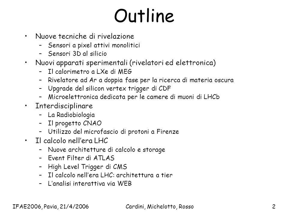 IFAE2006, Pavia, 21/4/2006Cardini, Michelotto, Rosso2 Outline Nuove tecniche di rivelazione –Sensori a pixel attivi monolitici –Sensori 3D al silicio