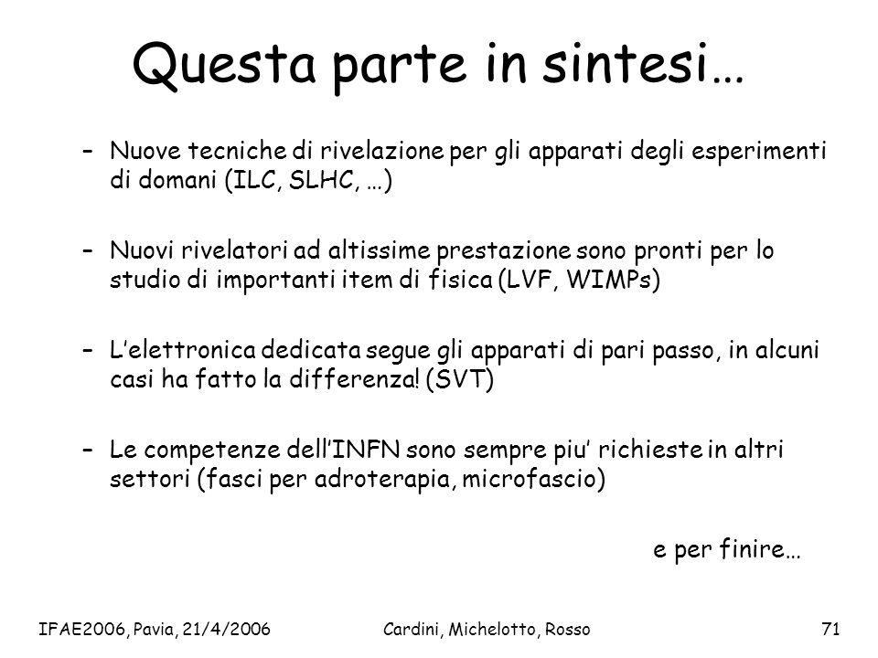 IFAE2006, Pavia, 21/4/2006Cardini, Michelotto, Rosso71 Questa parte in sintesi… –Nuove tecniche di rivelazione per gli apparati degli esperimenti di d
