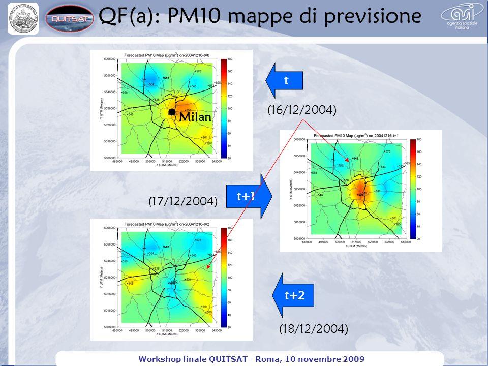 QF(a): PM10 mappe di previsione Workshop finale QUITSAT - Roma, 10 novembre 2009 t t+2 (16/12/2004) (17/12/2004) (18/12/2004) t+1 Milan