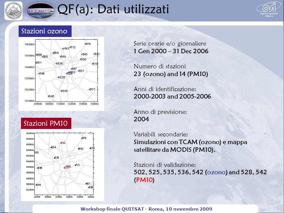QF(a): Dati utilizzati Workshop finale QUITSAT - Roma, 10 novembre 2009 Stazioni ozono Serie orarie e/o giornaliere 1 Gen 2000 – 31 Dec 2006 Numero di