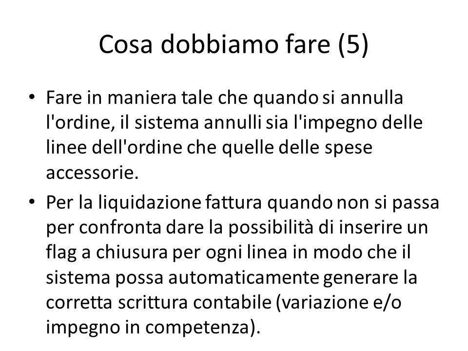 Cosa dobbiamo fare (5) Fare in maniera tale che quando si annulla l ordine, il sistema annulli sia l impegno delle linee dell ordine che quelle delle spese accessorie.