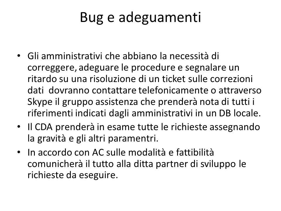 Bug e adeguamenti Gli amministrativi che abbiano la necessità di correggere, adeguare le procedure e segnalare un ritardo su una risoluzione di un tic