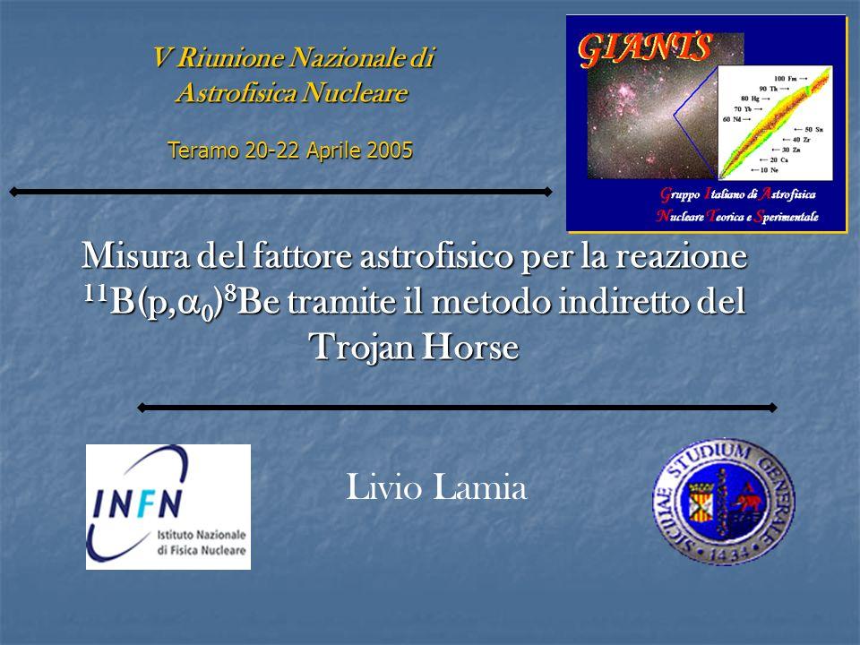 Misura del fattore astrofisico per la reazione 11 B(p, 0 ) 8 Be tramite il metodo indiretto del Trojan Horse V Riunione Nazionale di Astrofisica Nucle