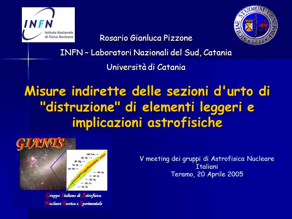 V meeting dei gruppi di Astrofisica Nucleare Italiani Teramo, 20 Aprile 2005 Rosario Gianluca Pizzone INFN – Laboratori Nazionali del Sud, Catania Uni