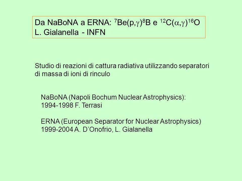 Da NaBoNA a ERNA: 7 Be(p, ) 8 B e 12 C(, ) 16 O L.