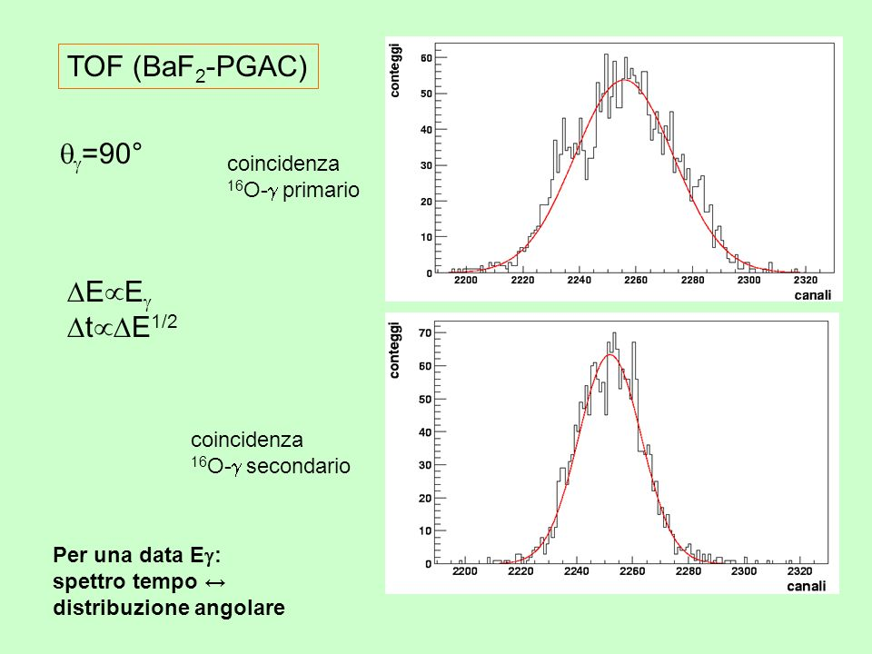 =90° TOF (BaF 2 -PGAC) E E t E 1/2 coincidenza 16 O- primario coincidenza 16 O- secondario Per una data E : spettro tempo distribuzione angolare