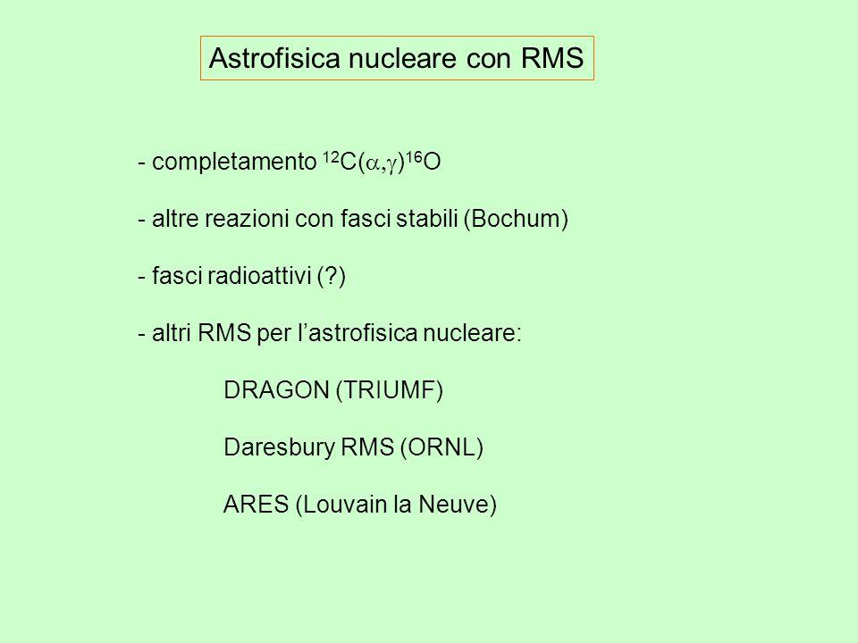 Astrofisica nucleare con RMS - completamento 12 C( ) 16 O - altre reazioni con fasci stabili (Bochum) - fasci radioattivi ( ) - altri RMS per lastrofisica nucleare: DRAGON (TRIUMF) Daresbury RMS (ORNL) ARES (Louvain la Neuve)