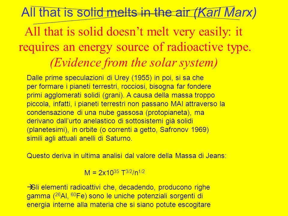 Dalle prime speculazioni di Urey (1955) in poi, si sa che per formare i pianeti terrestri, rocciosi, bisogna far fondere primi agglomerati solidi (grani).