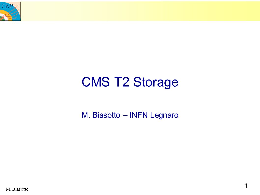 1 M. Biasotto CMS T2 Storage M. Biasotto – INFN Legnaro