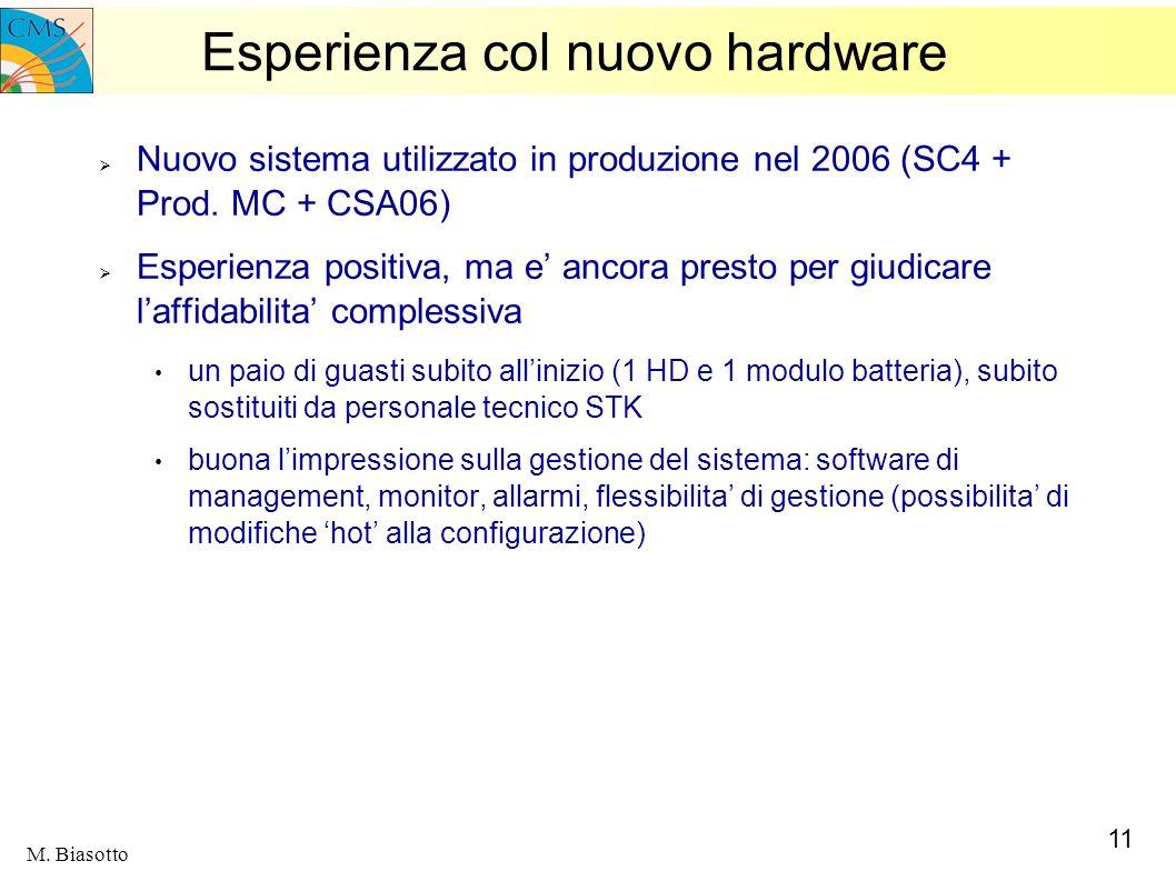 11 M. Biasotto Esperienza col nuovo hardware Nuovo sistema utilizzato in produzione nel 2006 (SC4 + Prod. MC + CSA06) Esperienza positiva, ma e ancora
