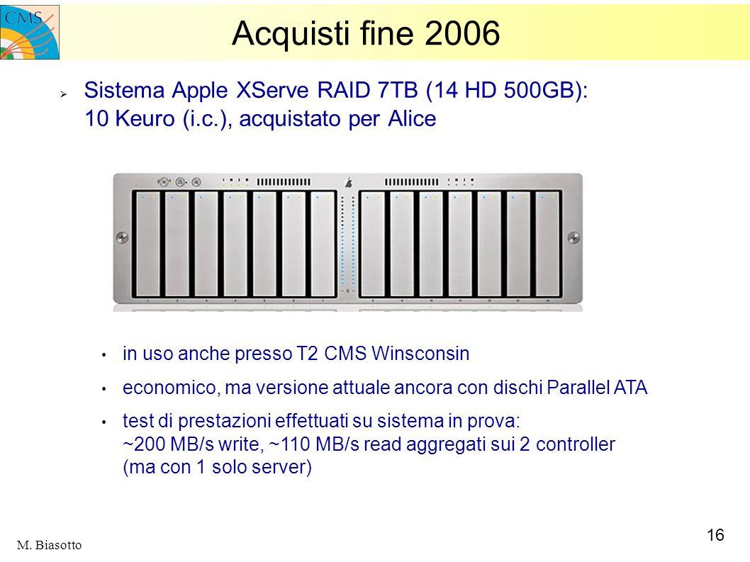 16 M. Biasotto Acquisti fine 2006 Sistema Apple XServe RAID 7TB (14 HD 500GB): 10 Keuro (i.c.), acquistato per Alice in uso anche presso T2 CMS Winsco