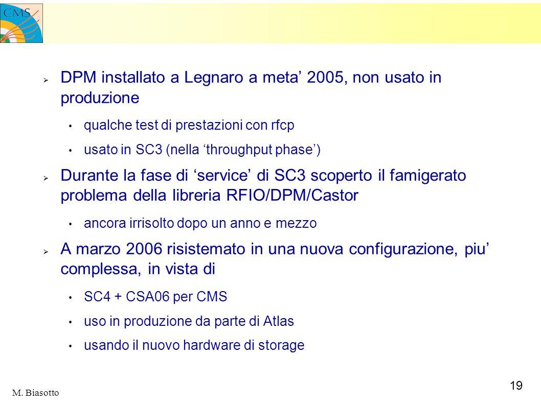 19 M. Biasotto DPM installato a Legnaro a meta 2005, non usato in produzione qualche test di prestazioni con rfcp usato in SC3 (nella throughput phase