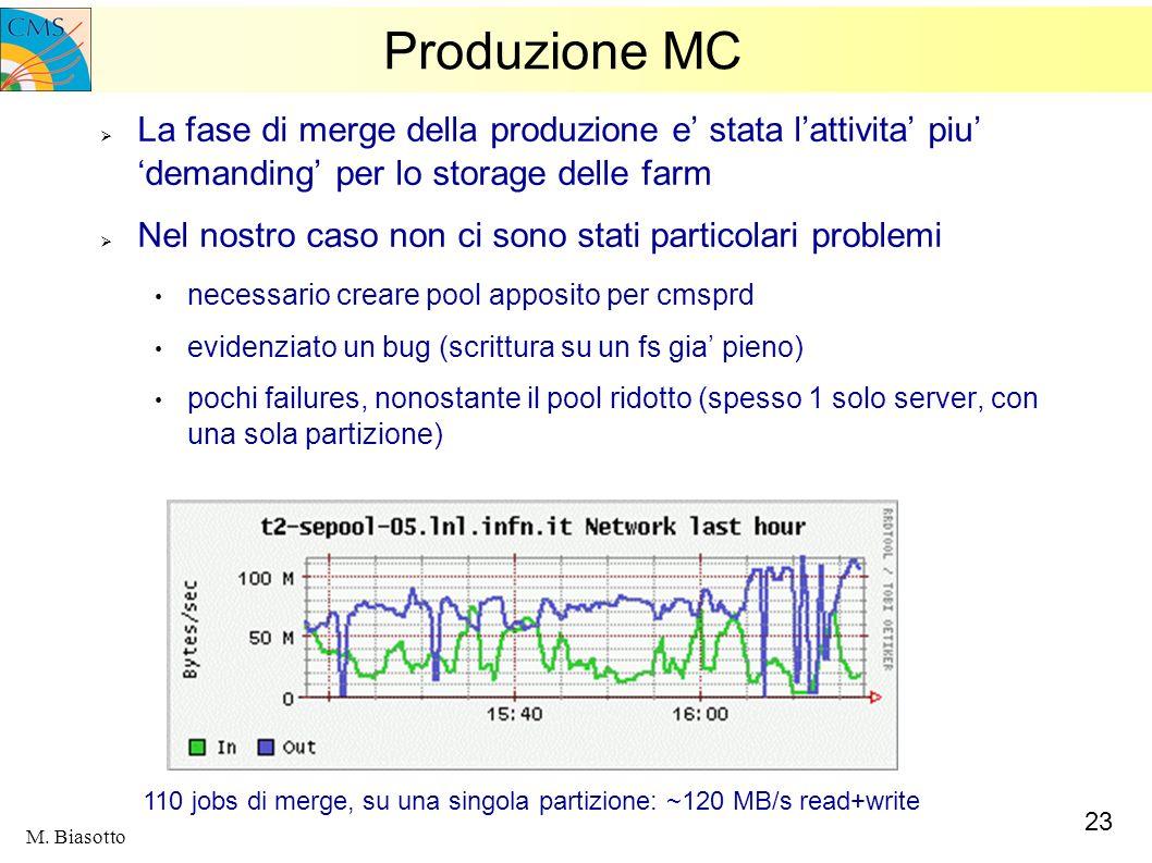 23 M. Biasotto Produzione MC La fase di merge della produzione e stata lattivita piu demanding per lo storage delle farm Nel nostro caso non ci sono s