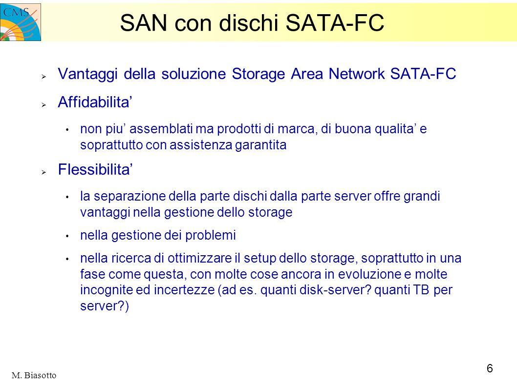 6 M. Biasotto SAN con dischi SATA-FC Vantaggi della soluzione Storage Area Network SATA-FC Affidabilita non piu assemblati ma prodotti di marca, di bu