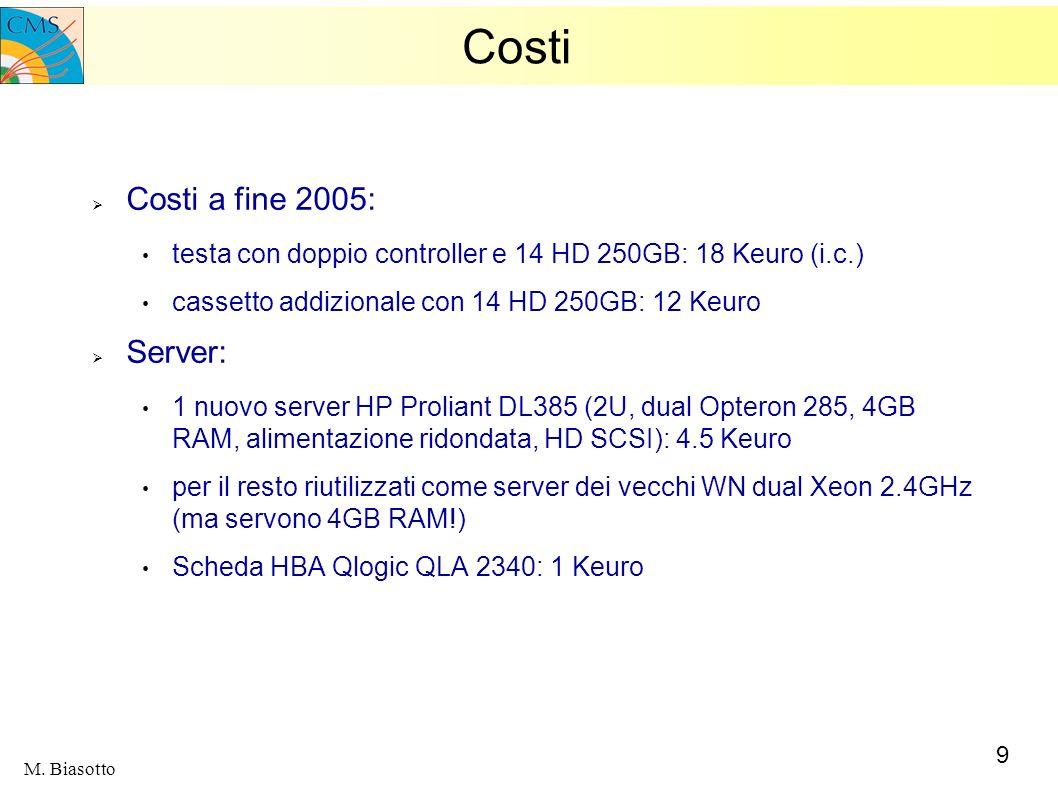 9 M. Biasotto Costi Costi a fine 2005: testa con doppio controller e 14 HD 250GB: 18 Keuro (i.c.) cassetto addizionale con 14 HD 250GB: 12 Keuro Serve