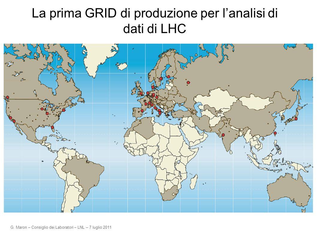 G. Maron – Consiglio dei Laboratori – LNL – 7 luglio 2011 La prima GRID di produzione per lanalisi di dati di LHC