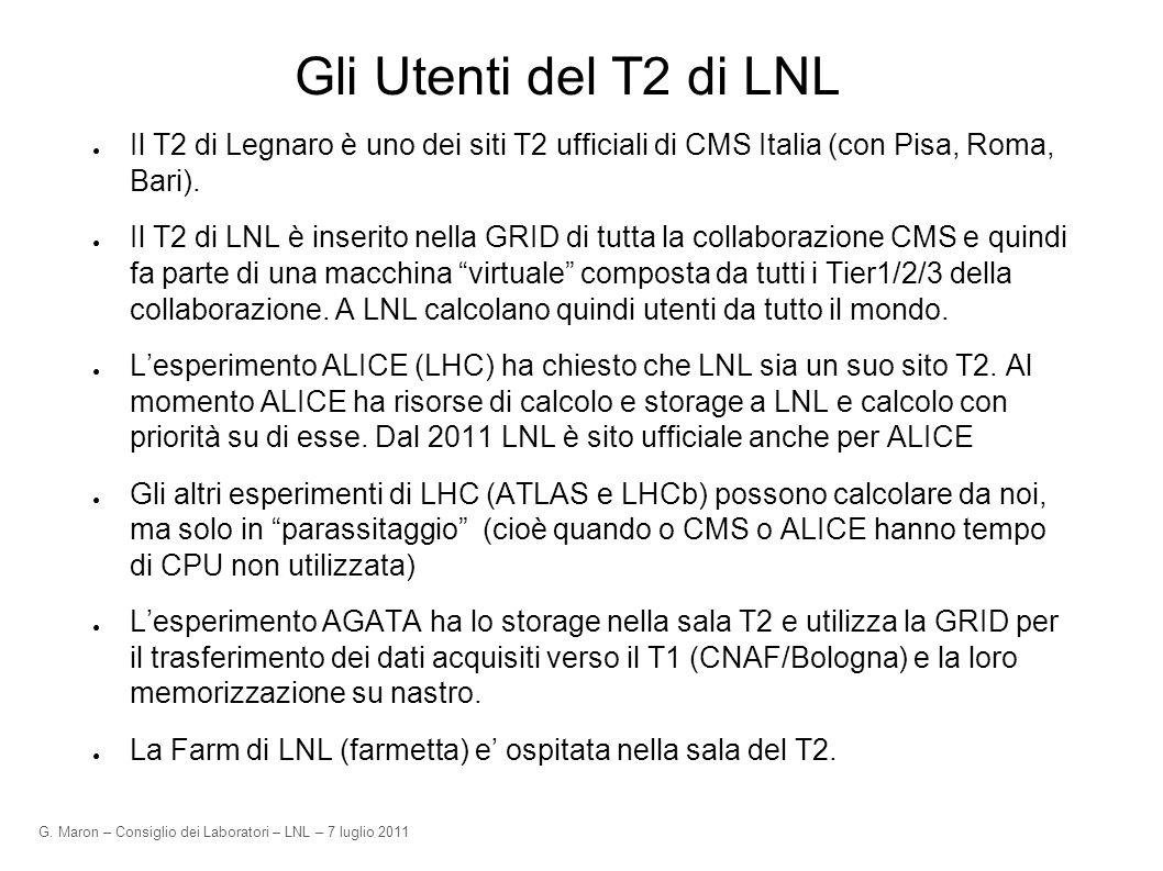 G. Maron – Consiglio dei Laboratori – LNL – 7 luglio 2011 Gli Utenti del T2 di LNL Il T2 di Legnaro è uno dei siti T2 ufficiali di CMS Italia (con Pis