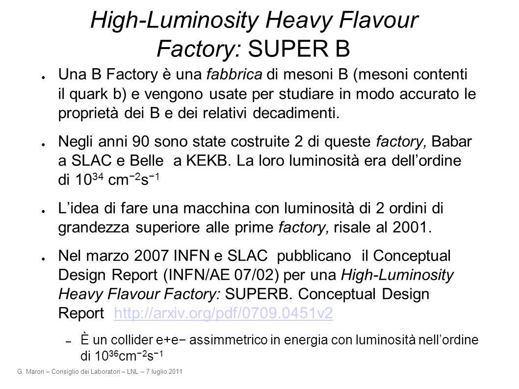 G. Maron – Consiglio dei Laboratori – LNL – 7 luglio 2011 High-Luminosity Heavy Flavour Factory: SUPER B Una B Factory è una fabbrica di mesoni B (mes