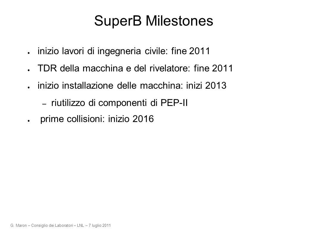 G. Maron – Consiglio dei Laboratori – LNL – 7 luglio 2011 SuperB Milestones inizio lavori di ingegneria civile: fine 2011 TDR della macchina e del riv