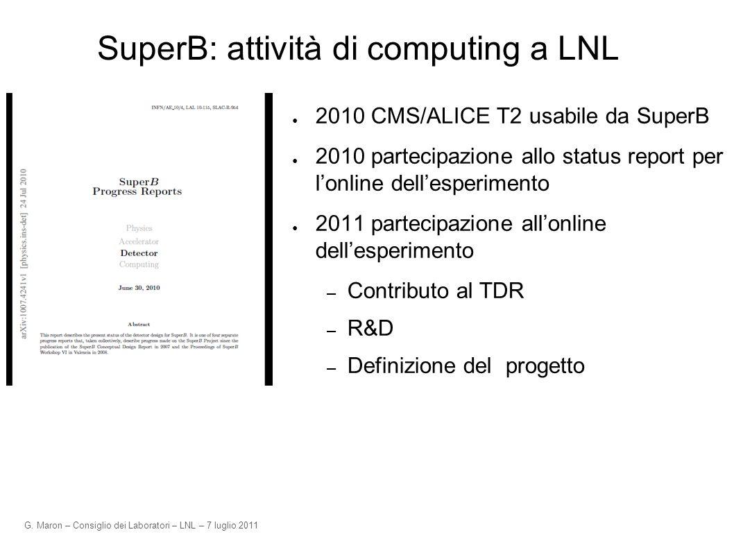 G. Maron – Consiglio dei Laboratori – LNL – 7 luglio 2011 SuperB: attività di computing a LNL 2010 CMS/ALICE T2 usabile da SuperB 2010 partecipazione